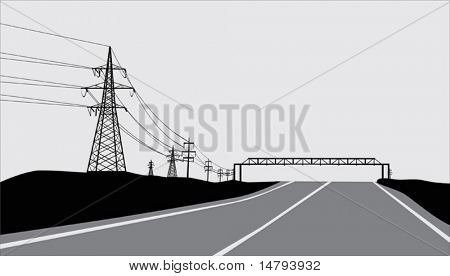 illustration with electric line near road
