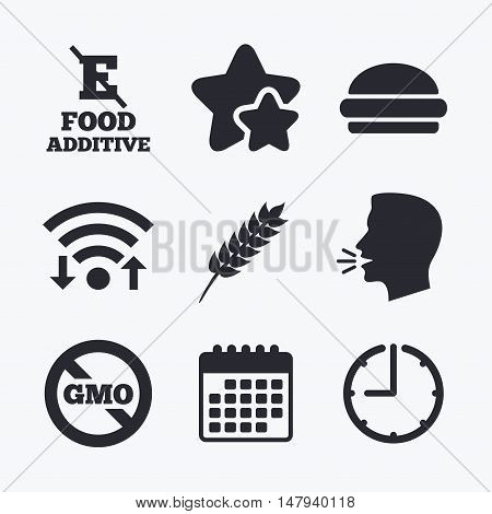 Food additive icon. Hamburger fast food sign. Gluten free and No GMO symbols. Without E acid stabilizers. Wifi internet, favorite stars, calendar and clock. Talking head. Vector