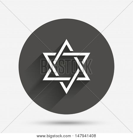 Star of David sign icon. Symbol of Israel. Jewish hexagram symbol. Shield of David. Circle flat button with shadow. Vector