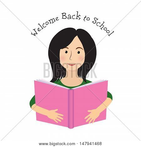 Cheerful smiling little girl on white background, looking at camera. Welcome back to school concept