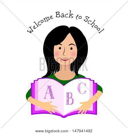 Cheerful smiling little girl on white background with ABC learning book. Welcome back to school concept
