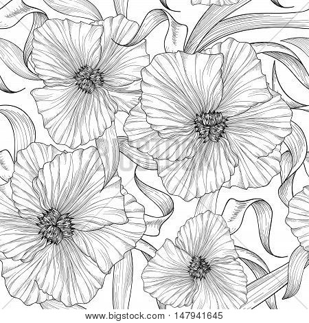 Floral seamless etching pattern. Flower background. Engraving seamless texture with flowers dahlia. Flourish tiled ornament
