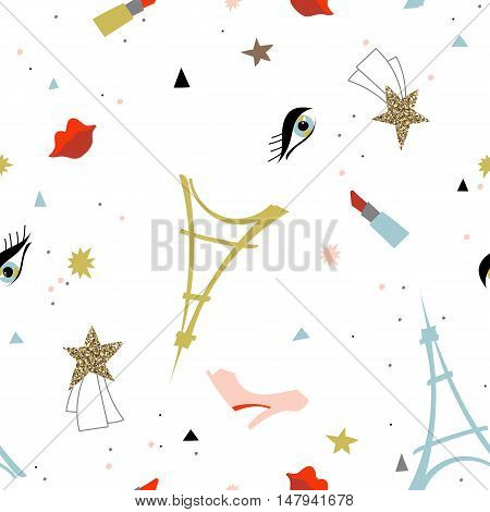 Abstract Paris Eiffel tower vector icon gold stars.Hand drawn vector illustration seamless pattern.Ready for t-shirt design or party birthday invitation wrap paper.