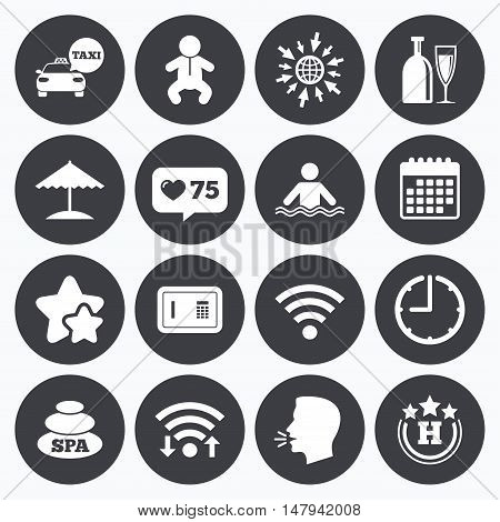 Calendar, wifi and clock symbols. Like counter, stars symbols. Hotel, apartment service icons. Spa, swimming pool signs. Alcohol drinks, wifi internet and safe symbols. Talking head, go to web symbols. Vector