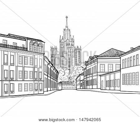 Moscow city street view with famous Stalin skyscraper building on background. Moscow cityscape. Travel Russia engraving skyline
