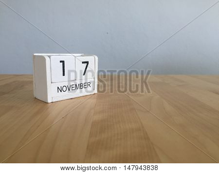 November 17Th. November 17 White Wooden Calendar On Vintage Wood Abstract Background.autumn Day.copy