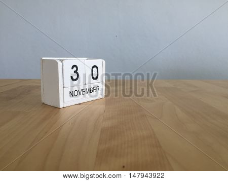 November 30Th. November 30 White Wooden Calendar On Vintage Wood Abstract Background.autumn Day.copy