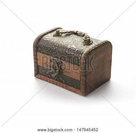 vintage wood coffer isolated on white background