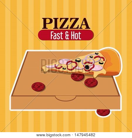 Pizza pie and carton box icon. fast food menu american and restaurant theme. Colorful design. Vector illustration