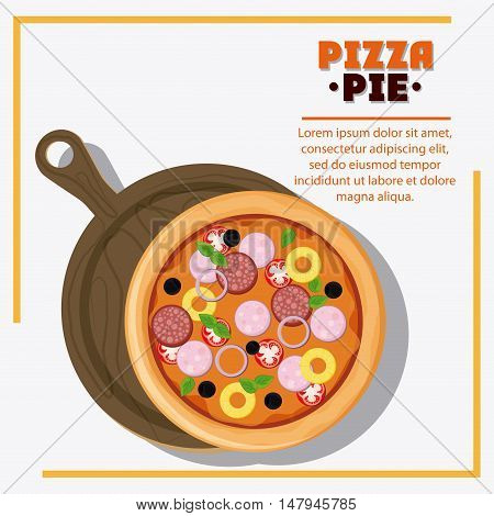 Pizza pie and plate icon. fast food menu american and restaurant theme. Colorful design. Vector illustration