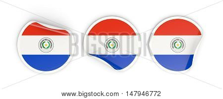 Flag Of Paraguay, Round Labels
