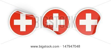 Flag Of Switzerland, Round Labels