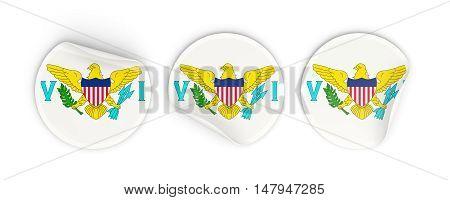 Flag Of Virgin Islands Us, Round Labels