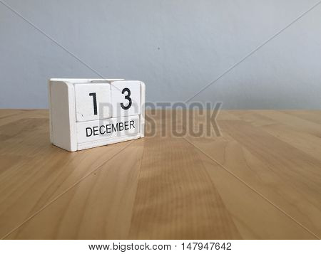 December 13Th.december 13 White Wooden Calendar On Vintage Wood Abstract Background. New Year At Wor