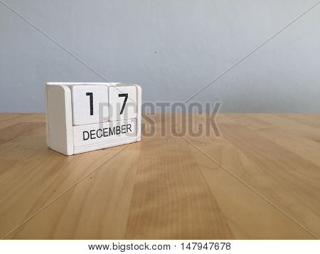 December 17Th.december 17 White Wooden Calendar On Vintage Wood Abstract Background. New Year At Wor
