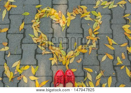 Woman's feet in rad shoes near the eart made of colorful leaves on the ground