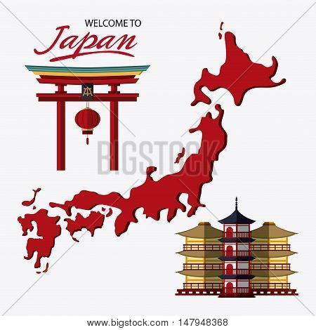 tower building arch and map icon. Japan culture landmark and asia theme. Colorful design. Vector illustration