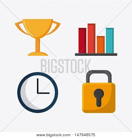 trophy clock padlock and infographic icon. Business financial item and strategy theme. Colorful design. Vector illustration