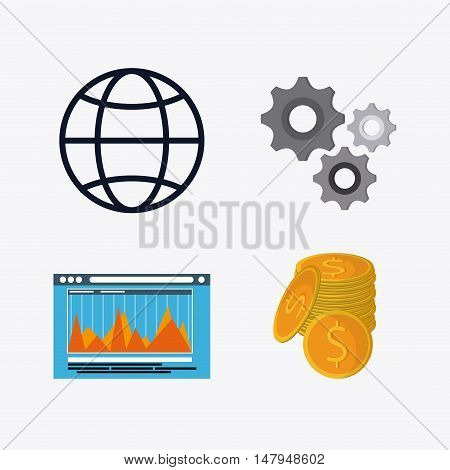 global website coins and gears icon. Business financial item and strategy theme. Colorful design. Vector illustration