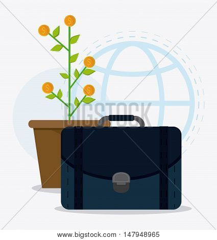 plant coins and suitcase icon. Business financial item and strategy theme. Colorful design. Vector illustration