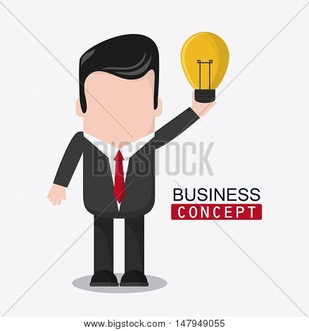 businessman cartoon and bulb icon. Business financial item and strategy theme. Colorful design. Vector illustration