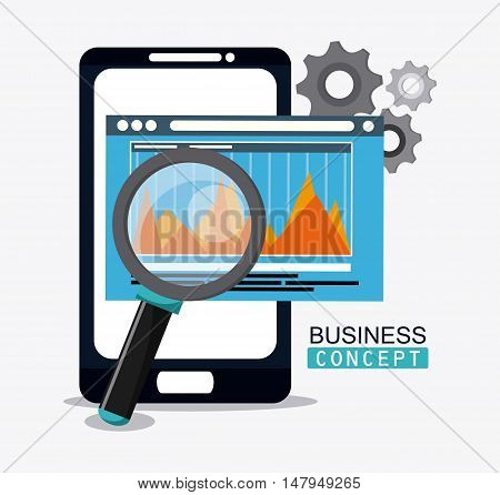 smartphone gears and lupe icon. Business financial item and strategy theme. Colorful design. Vector illustration