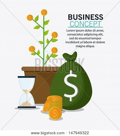 plant coins hourglass and money bag icon. Business financial item and strategy theme. Colorful design. Vector illustration