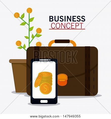 plant coins and smartphone icon. Business financial item and strategy theme. Colorful design. Vector illustration