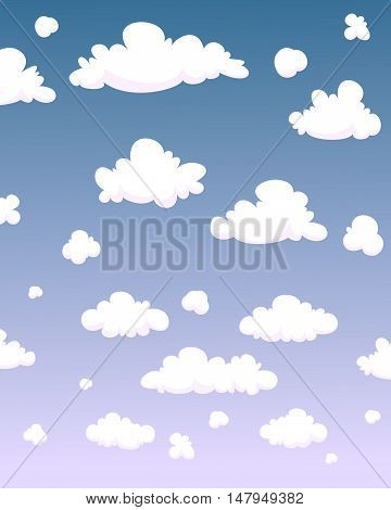 The white cartoon clouds background, vector illustration.