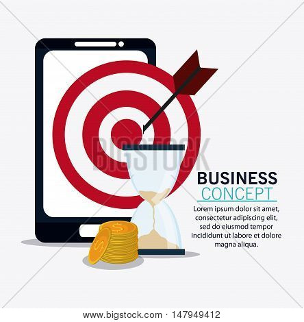 smartphone target hourglass and coins icon. Business financial item and strategy theme. Colorful design. Vector illustration