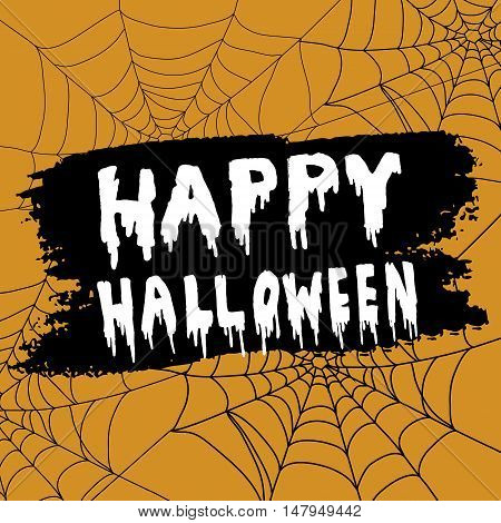 Happy Halloween Calligraphy. Halloween banner. Halloween lettering. on orange background with spider webs