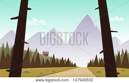Cartoon illustration of mountain landscape with country road.