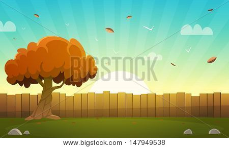 Cartoon illustration of the wooden fence with tree and sun beams in background.