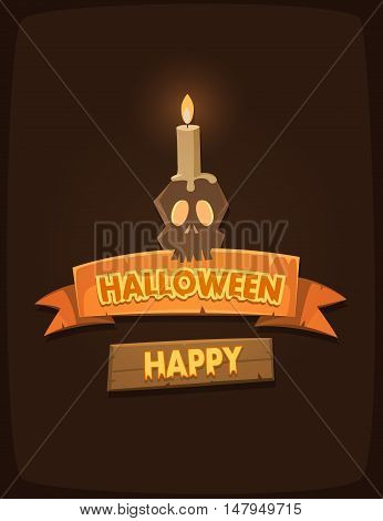 Halloween poster with banners, scull and candle, cartoon vector illustration.