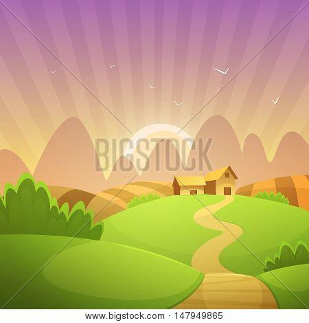 Rural landscape with farm barn, cartoon vector illustration.