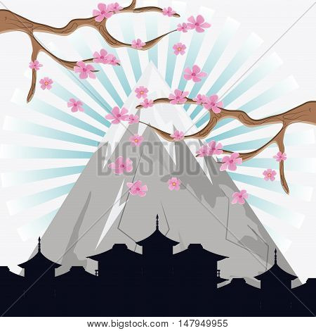 Mountain tree and city silhouette icon. Japan culture landmark and asia theme. Colorful design. Vector illustration