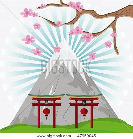 Mountain arch with lamps and tree icon. Japan culture landmark and asia theme. Colorful design. Vector illustration