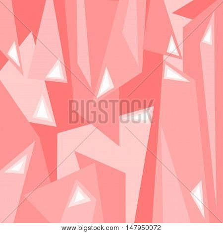 An abstract digital artwork featuring angular shapes in tones of pink in a square format.