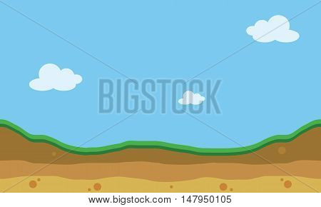 Hill landscape of silhouette for game backgrounds vector art