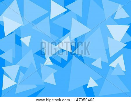 An abstract digital pattern created with triangles of various sizes in shades of blue.
