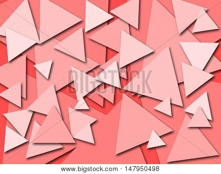 An abstract digital pattern created with triangles of various sizes in shades of pink with a three dimensional effect.