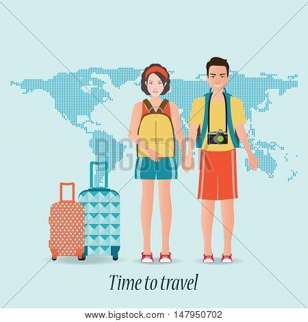 Couple travelers with luggage on world map background. tourists couple ready to trip. on summer holidays trip charactor flat design vector illustration.