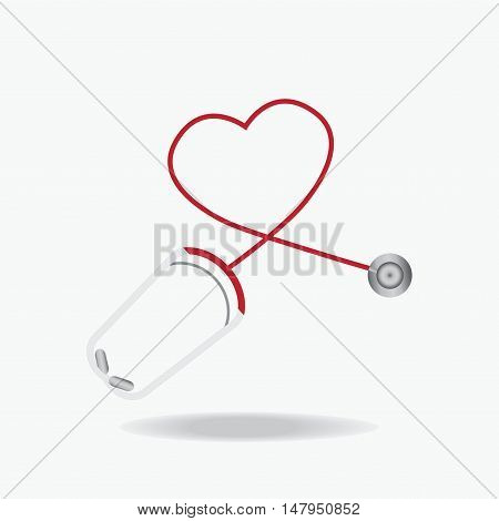 Red Stethoscope in Shape of Heart Isolated On White Background Healthcare concept flat design style Vector illustration.