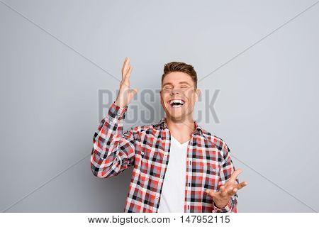 Portrait Of Happy Smiling Man Achieving His Goal