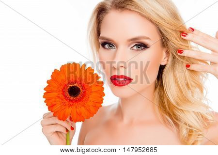 Beautiful Young Woman With Gerbera Isolated On White Background