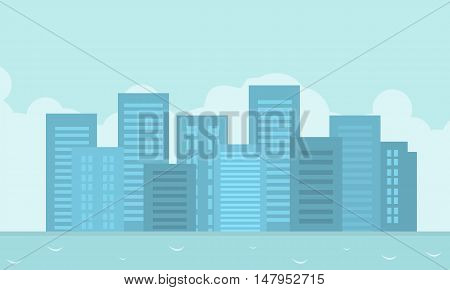 Vector flat of city landscape vector art illustration