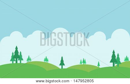 Silhouette of hill and beautiful sky landscape vector art