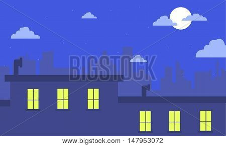 At night city landscape for game backgrounds vector art