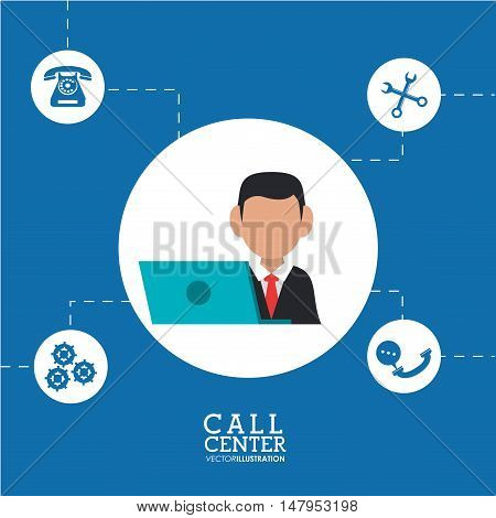 Opeartor man with laptop icon. Call center and technical service theme. Colorful design. Vector illustration
