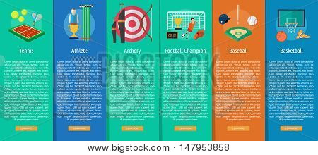 Sport and Awards Vertical Banner Concept | Set of great vertical banner flat design illustration concepts for sport, award, hobby, job, and much more. the set can be used for several purposes like: websites, print templates, presentation